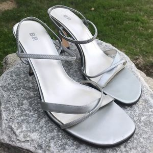 Silver strappy heels. Homecoming shoes, worn once!